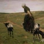 「砂丘で山羊を引く女」  マックス・リーバーマン