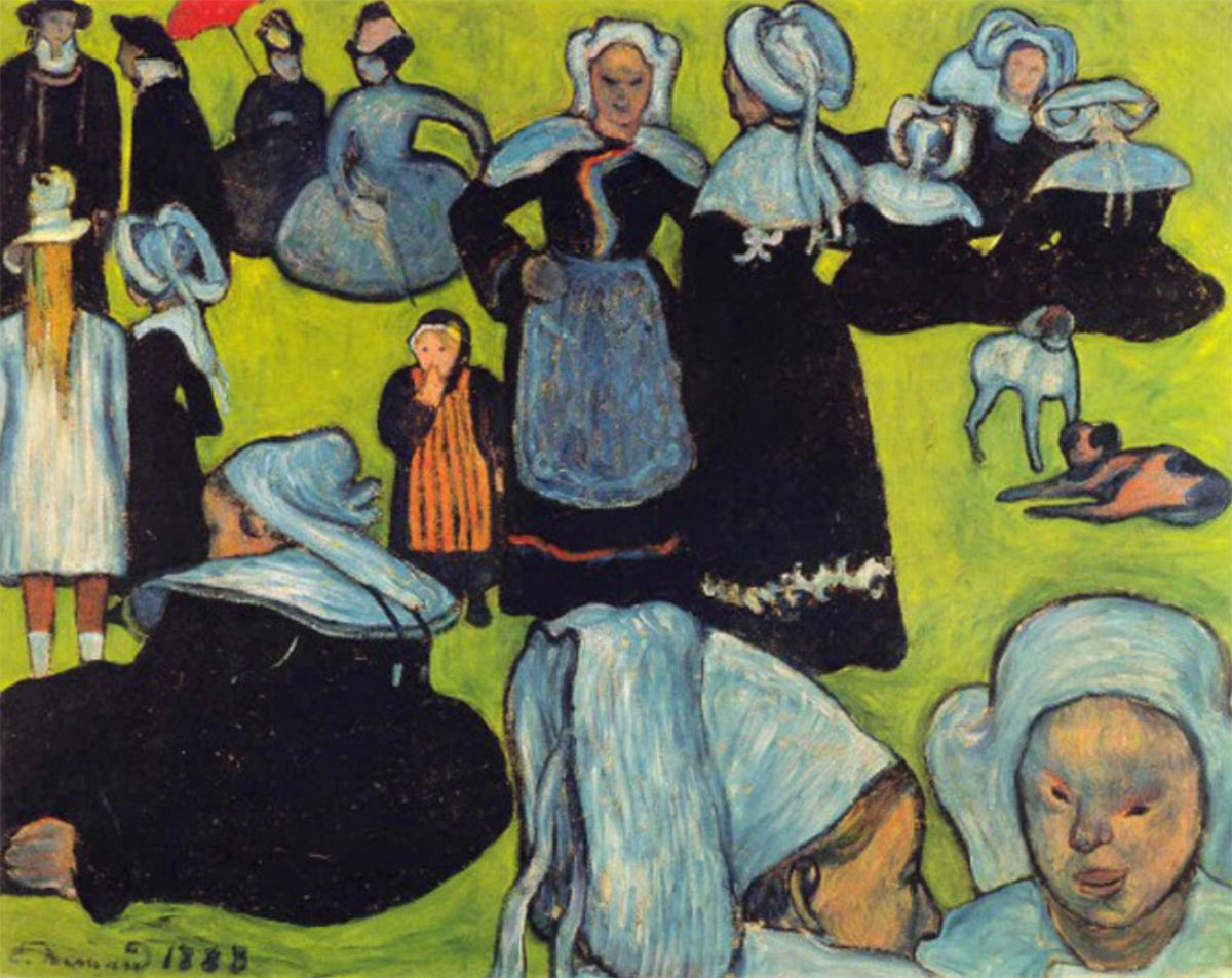 Émile Bernard 1888 08 Breton Women in the Meadow Le Pardon de Pont Aven
