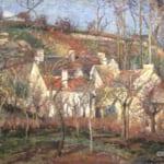 「赤い屋根、冬の村」 カミーユ・ピサロ