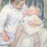 「眠たがる子どもを洗う母」 カサット(メアリー・カサット)