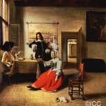 「ワインを飲む女と二人の兵士」 ピーテル・デ・ホーホ