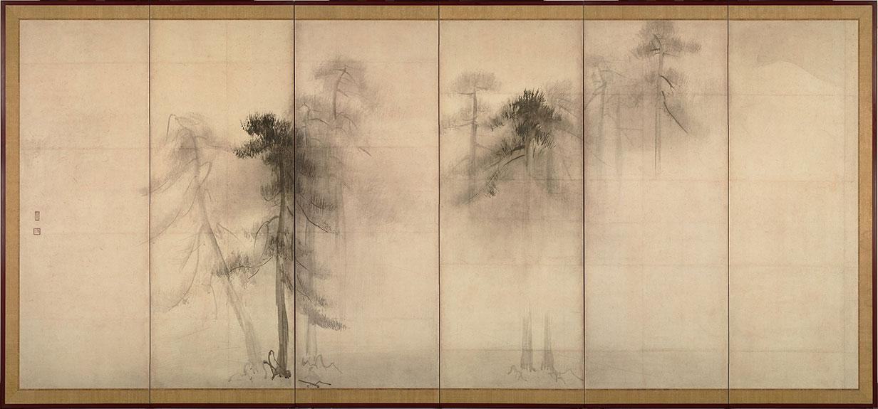 2880px Hasegawa Tohaku Pine Trees Shōrin zu byōbu left hand screen