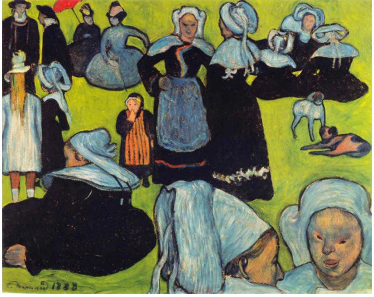 Émile Bernard 1888 08 Breton Women in the Meadow Le Pardon de Pont Aven