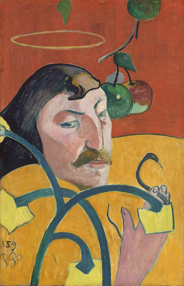 Paul Gauguin Self Portrait with Halo and Snake