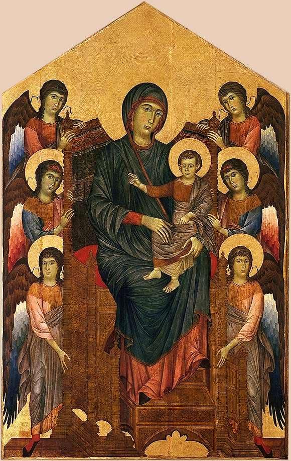 Cenni di Pepo dit Cimabue La Vierge et l Enfant en majesté entourés de six anges 1270