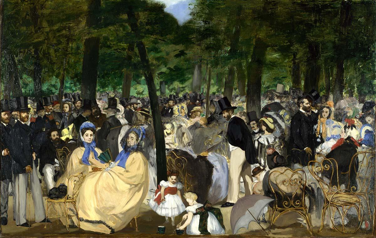 MANET Música en las Tullerías National Gallery Londres 1862
