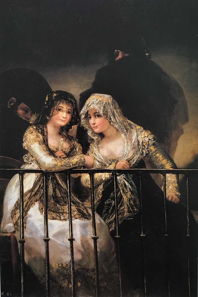 Majas en un balcón por Goya colección particular